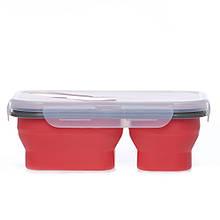 Ланчбокс силиконовый складной двойной (красный) (md14161) 979817580