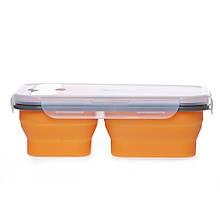 Ланчбокс силиконовый складной тройной (оранжевый) (md14160)