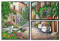 Схема для вышивки бисером на холсте на подрамнике Уютный дворик (модульный триптих)