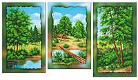 Схема для вышивки бисером на холсте на подрамнике Пейзаж у реки (модульный триптих)