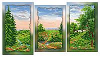 Схема для вышивки бисером на холсте на подрамнике Цветущее лето (модульный триптих)