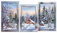 Схема для вышивки бисером на холсте на подрамнике Зима (модульный триптих)