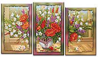 Схема для вышивки бисером на холсте на подрамнике Цветочная феерия (модульный триптих)