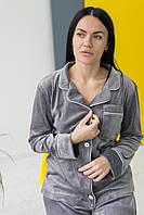 Пижама женская комплект на пуговицах V.Velika серый (рубашка+штаны) М