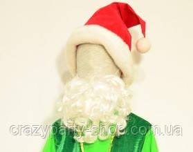 Борода белая маленькая кучерявая карнавальная 15см