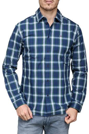 Рубашка мужская TOMMY HILFIGER цвет сине-бело-зеленый размер S арт DM0DM04985-902