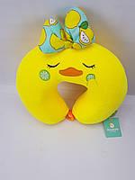 Красива ортопедична подушка для подорожей Жовта