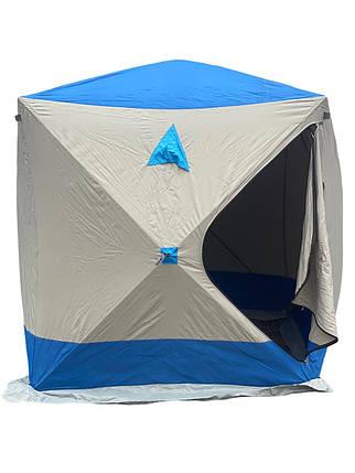Палатка для зимней рыбалки Daster КУБ 180x180x205 см серо-синяя, фото 2
