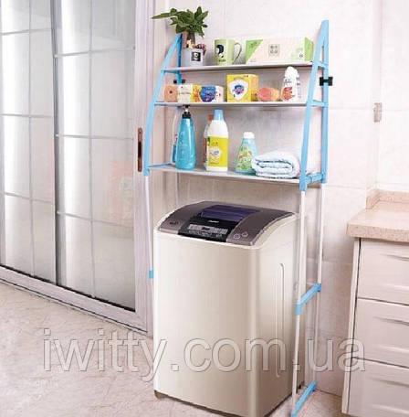 Полиця-стелаж підлоговий над пральною машиною (БІЛО-СИНЯ), фото 2