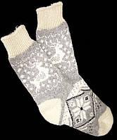 Шкарпетки жіночі з овечої шерсті, орнамент Олені