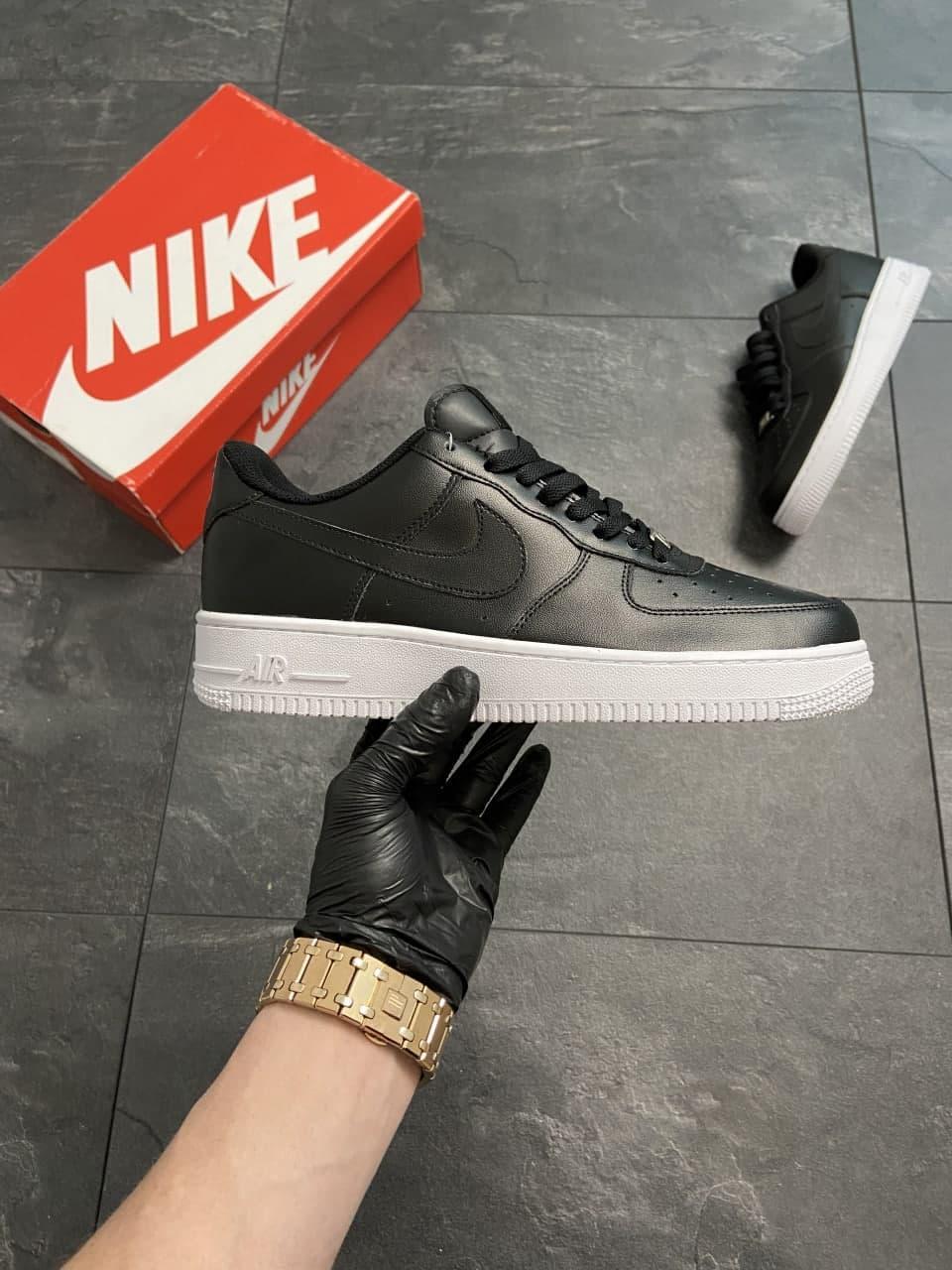 Мужские кроссовки  Nike Air Force 1 Low Black (копия)