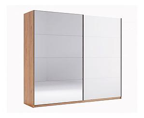 Двухдверный шкаф купе Ники (2 двери Глянец белый + Зеркало)