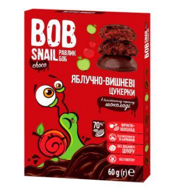 Конфеты натуральные РАВЛИК БОБ ялоко-вишня в бельгийском черном шоколаде, 60 г