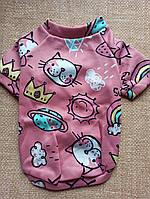 Одежда для собак. Свитер утепленный / кофта размер 16 Розовый кот