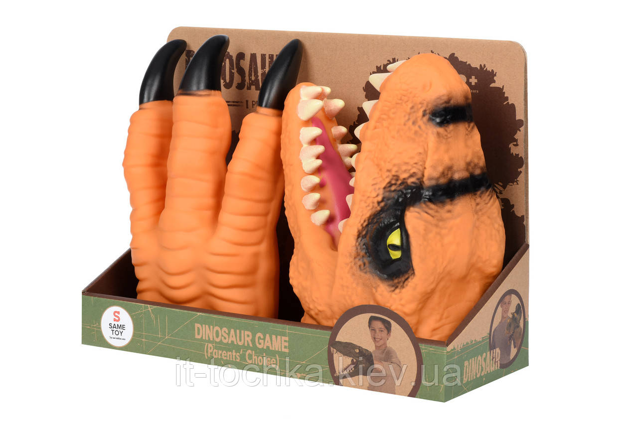 Игровой набор перчатка same toy ak68623ut-3 оранжевый динозавр animal gloves toys