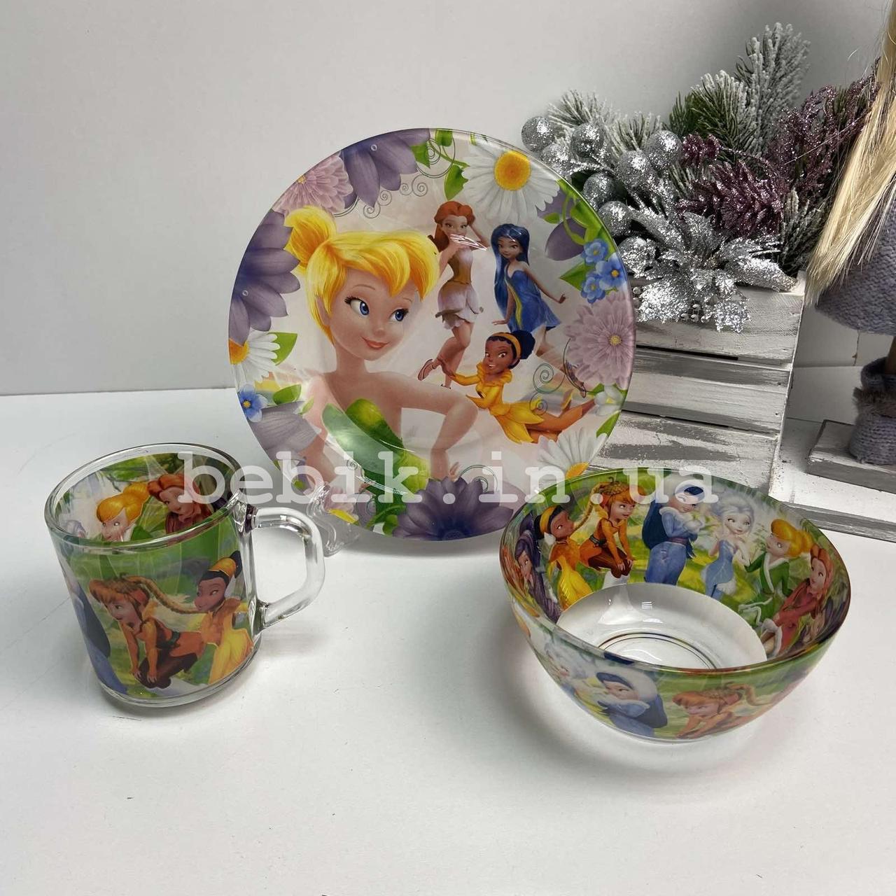 Подарочный набор детской посуды из стекла Феи