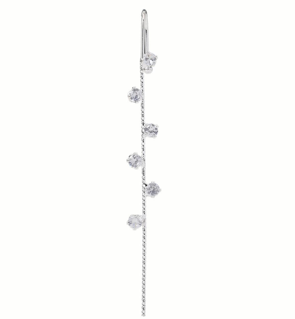 Серьги Каффы в форме крючка с кристалом Пусеты Гвоздики City-A Цвет Серебро №3040