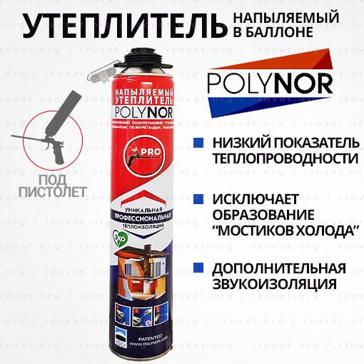 Утеплитель в баллоне POLYNOR (Полинор) полиуретановый, с насадкой для стен. 1000мл АКЦИЯ!