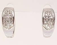 """Серьги M&L колечки """"Овальный орнамент с инкрустацией цирконием"""", фото 1"""