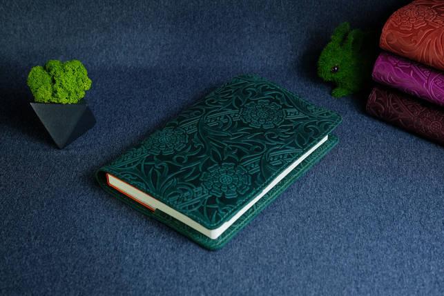 """Обложка с пеналом для ежедневника формата А5 """"Модель №16"""", Винтажная кожа, цвет Зеленый, Оттиск №3, фото 2"""