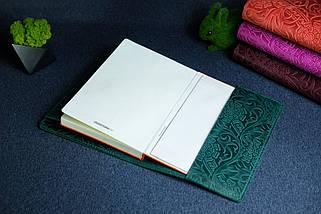 """Обложка с пеналом для ежедневника формата А5 """"Модель №16"""", Винтажная кожа, цвет Зеленый, Оттиск №3, фото 3"""