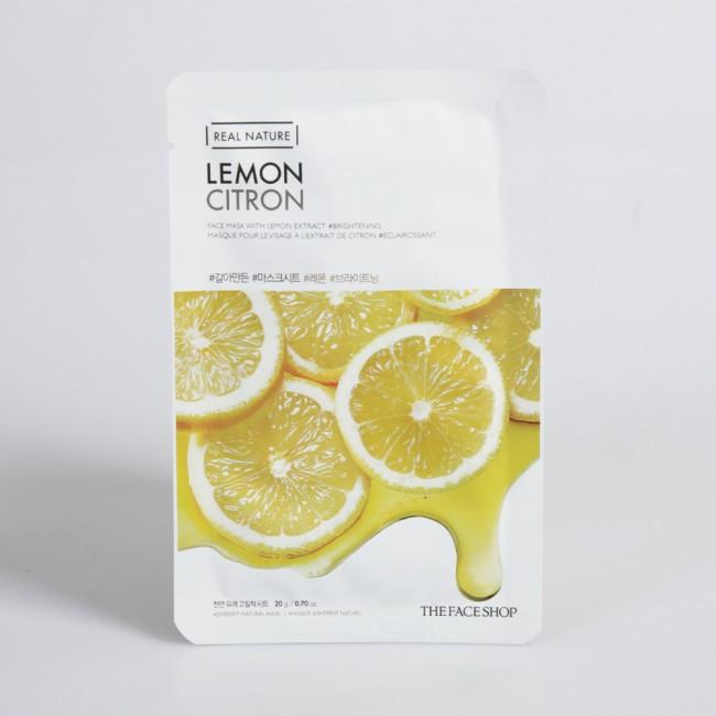 Осветляющая тканевая маска-лист с витамином С лимонной эссенцией The Face Shop Real Nature Face Mask Lemon