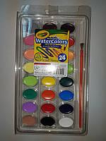 Смываемые краски 24 цвета + кисточка Крайола Crayola Washable Watercolors 24 count