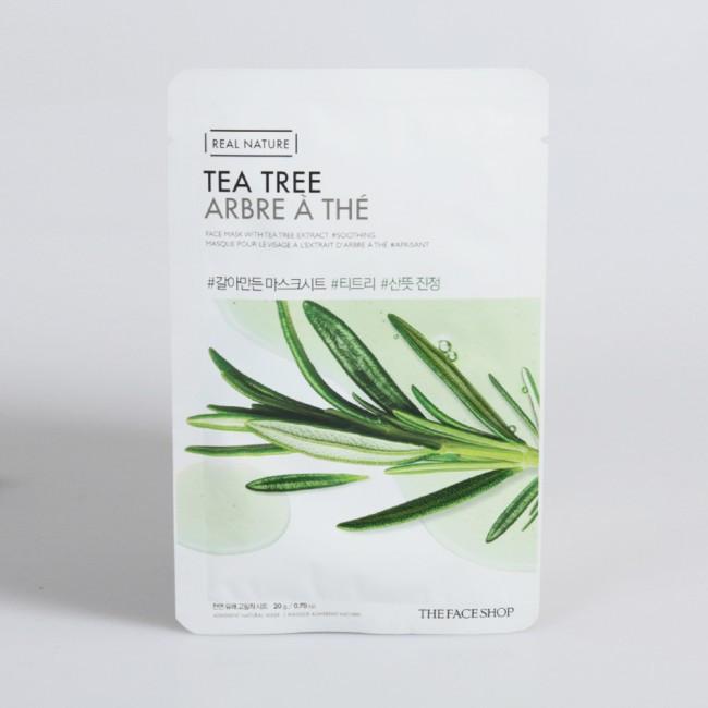 Успокаивающая тканевая маска с экстрактом чайного дерева The Face Shop Real Nature Tea Tree