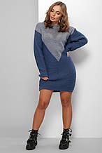 Жіноча в'язана сукня 181 (світлий джинс синій)