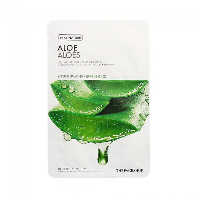 Зволожуюча і заспокійлива маска з есенцією алое The Face Shop Real Nature Aloe