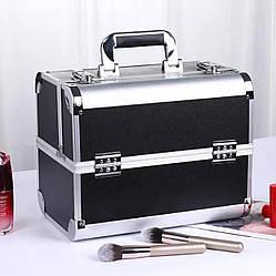 Бьюти кейс для косметики визажиста / чемодан для мастера маникюра и бровиста, черный