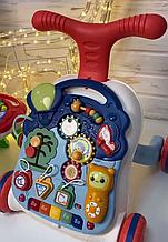 Детская Каталка, игровой центр 2 в1, Ходунки, пианино, шестеренки, сортер, музыка, звук, свет N5218А