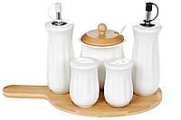 Емкости для специй Naturel набор: соль, перец, сахар, масло, уксус, фарфор+бамбук