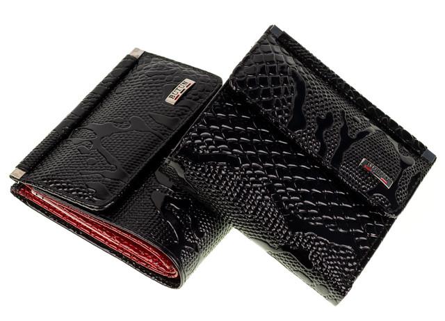 Женский кошелек BUTUN 590-008-039 кожаный черный с красным