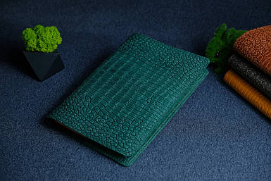 """Обложка для блокнота А5, """"Модель № 14"""", Винтажная кожа, цвет Зеленый, Оттиск №1"""