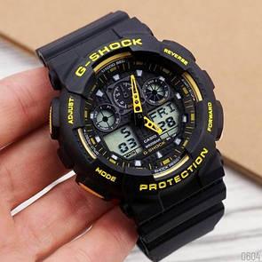 Мужские часы Casio G-Shock GA-100 Black-Yellow-Black