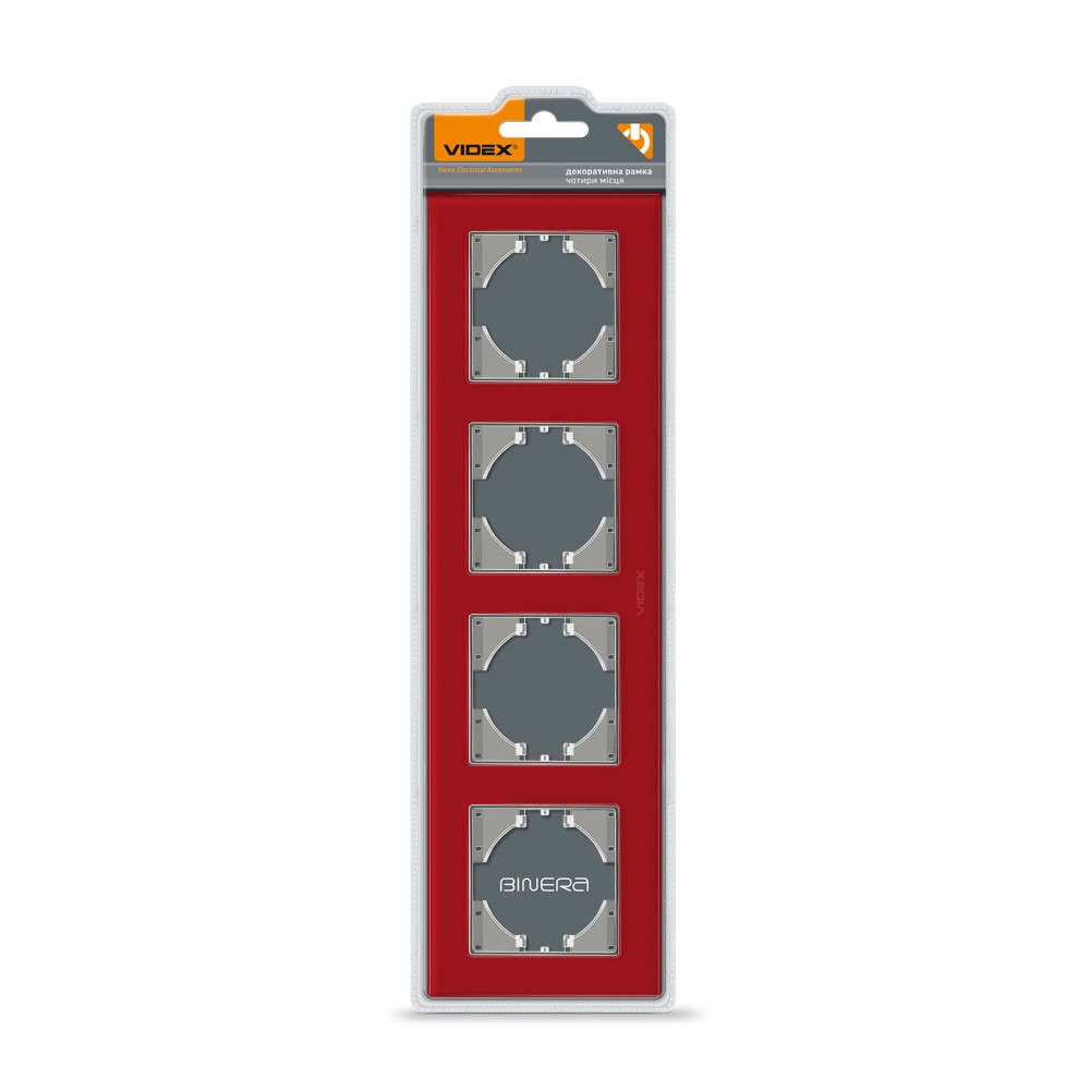 VIDEX BINERA Рамка красное стекло на 4 места горизонтальная
