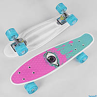 Пенни Борд пластиковый для детей и подростков Оригинал Penny Board FISH 55 cм Бирюзово-розовый (29707)
