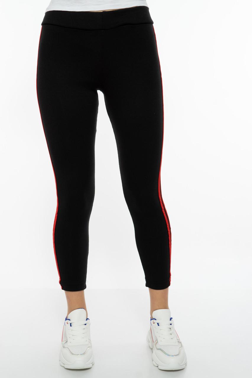 Лосины женские спортивные с лампасами 611F001 (Черно-красный)
