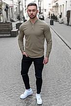 Мужская рубашка лонгслив синяя / 4 цвета Оливковый, М