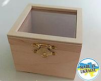 Шкатулка деревянная со стеклянной крышкой 8*8*6 см , заготовка для декупажа и росписи