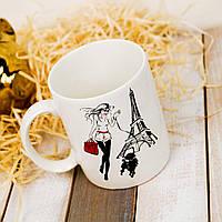 Чашка белая Офисная на подарок на 8 марта 350 мл