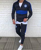 Синий мужской спортивный костюм Челси с голубыми вставками футбольный костюм Nike Chelsea Реплика
