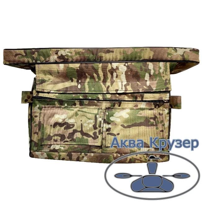 Мягкие накладки на сиденье 650х200х50 мм с сумкой рундуком для надувной лодки ПВХ, цвет камуфляж