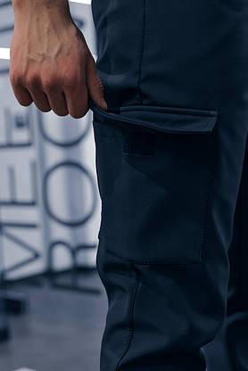 """Штаны мужские SoftShell """"Intruder"""" теплые на флисе синие + подарок, фото 3"""