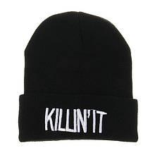 Черная шапка с надписью