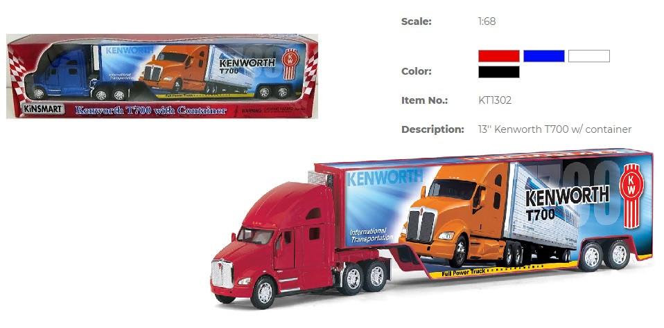 Модель грузовик KINSMART KENWORTH T700 металевий інерційний KT1302W