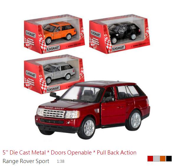 Модель машини Kinsmart Range Rover 4 види в коробці KT5312W