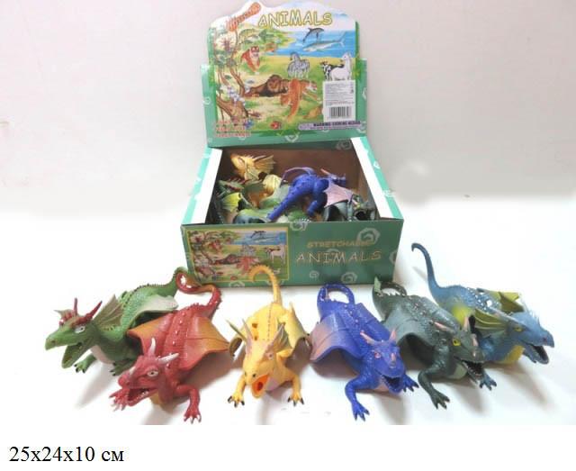 Дракон силіконовий Гонконг тягучка 6 видів у коробці A038P(617)