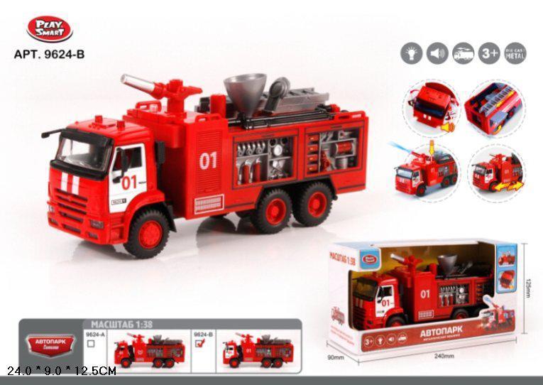 Модель Автопарк LAY SMART пожежний автомобіль металевий музика світло в коробці 9624B